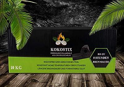 V2 FOODS Kokostix Grillkohle in Stangenform aus Kokos-Kohle - extra Lange Brenndauer - gleichbleibende Hitzeabgabe - 10kg im Karton