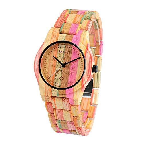Bewell Große Bunte Damen Beiläufige Armband Bambusuhr Minimalistische Analoge Quarz Runde Armbanduhr für Frauen