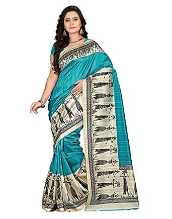e-VASTRAM Women's Art Mysore Printed Silk(NS7D_Blue)