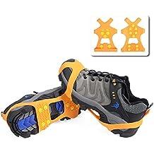 Triwonder Ice Grips 10 Dientes Antideslizante Zapato / Bota Ice Traction Slip-on Snow Puntas de hielo Crampones Calas Estiramiento de la tracción del calzado (Naranja, L (EUR:42-45))