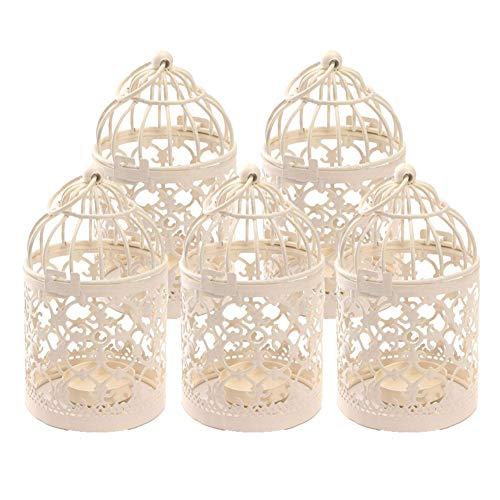 Kentop Lot de 5 Cage à Oiseaux en métal Photophore Lanterne Maison de Mariage Décoration de Table...