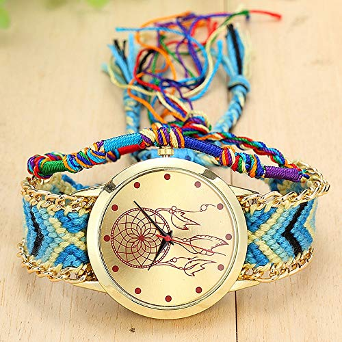 Relojes de Pulsera 177 Reloj de cinturón Tejido a Mano de Estilo étn
