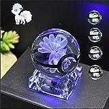 iBaste Nachtlicht Tischlampe 3D LED Crystal Ball Lamp 5cm Kugel mit Ständer Pokemon Deko Kristallkugel für Haus oder als Geschenk