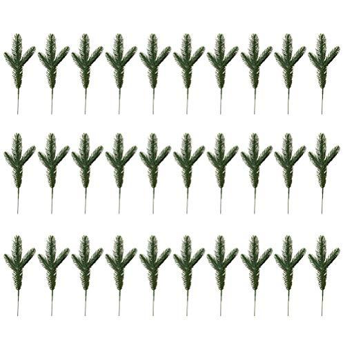 LIOOBO 30 Stücke Künstliche Kiefer Picks Weihnachten Kiefer Zweig Kiefernadeln Kiefer Grün Vorbauten Weihnachtsschmuck für DIY Handwerk Winter Urlaub Dekorationen