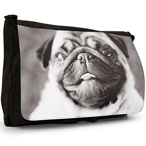 Grande Messenger White Black Little Pug a Carlino amp; borsa Borsa Laptop Nera tracolla Pugs scuola Love Cani Tela Per ZATIw8Iq