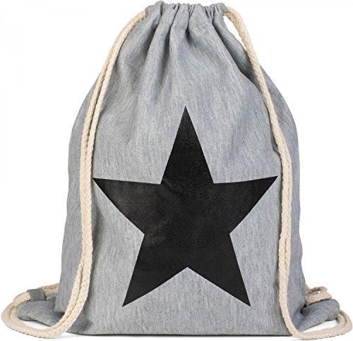 styleBREAKER zaino sportivo con stampa a stella, borsa sportiva, bauletto, unisex 02012088, colore:Turchese / Bianco Grigio chiaro / Nero