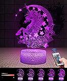 Lune et Licorne 3D Lampes avec Télécommande, QiLiTd LED Lampe 7 couleur Lumière Dimmable Tactile Interrupteur USB/Batterie Insérer, Decoration Anniversaire Cadeau Noël Pour Bébé Enfant Ado Femme Homme