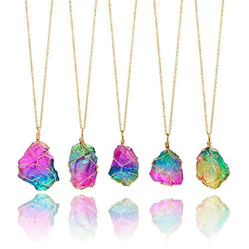 Yunhigh Collar de Cristal de fluorita Arco Iris Colgante con Cadena de Alambre Wraped Piedras Preciosas de Cuarzo en Bruto Piedra de curación Irregular Amuleto de protección de Reiki para Las Mujeres