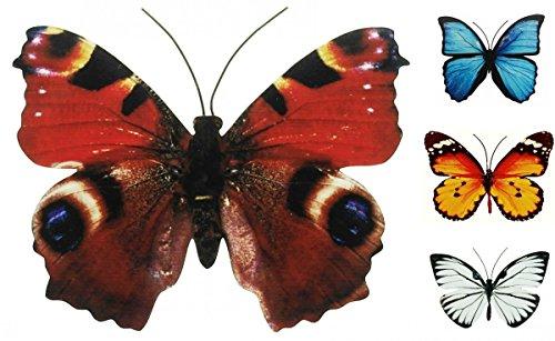 Schmetterling Metall Wand Deko Bunt Garten Wandschmuck Falter Schmetterlinge, Farbe:Braun, Größe:40 cm