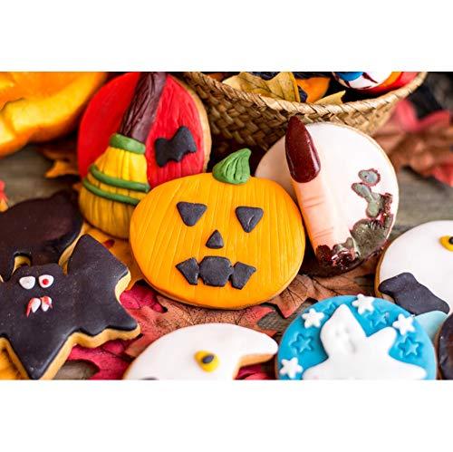 OERJU 1,5x1m Halloween Hintergrund Halloween Element Kuchen Kürbis Fingermuster Hintergrund Halloween Nacht Party Fotografie Süßes und Saures Banner Dekoration Porträt Foto