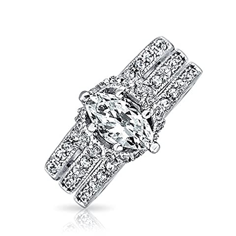 Marquise Pave CZ Engagement Wedding Ring Set Sterling Silver