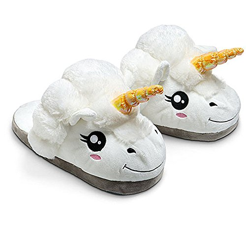 Kenmont Peluche Licorne Chaussons Unicorn Pantoufles Hiver Coton Chaussons Chaussures, pointure europeenne: 36-41, cadeaux festival Idol Nouveaute Noel (Blanc)
