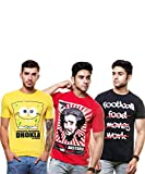 Enquotism Pack Of 3 Round Neck Printed T-shirt