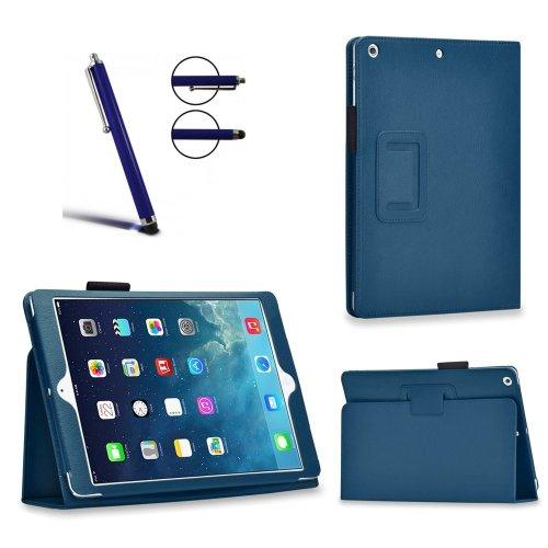 Invero® Executive Leder Schutzhülle Tasche Etui umfasst Ständer Feature, mit Auto Schlaf / Wach Funktion, Displayschutzfolie, Eingabestift Kugelschreiber und Mikro-Reinigungstuch für Apple iPad Pro 12,9 Zoll 2015 - Blau / Blue Iphone Executive Leather Case