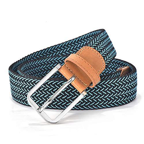 AQGY Gürtel Farbe Casual Strickgürtel Weben Canvas Elastic Stretch Gürtel Plain Fabric Gürtel Metallschnalle Schwarz 120CM blau