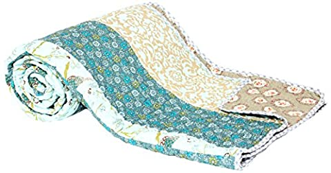 1001Wohntraum T211Quilt I Couvre-lit Japon Fleurs Patchwork Motif Couverture, barock blau, 230 x 250 cm