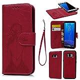 S8Caso, Galaxy S8Funda, Cartera de piel sintética con tapa separable, magnético y desmontable carcasa con relieve de chica Patrón con ranuras para tarjetas y correa de muñeca funda para Samsung Galaxy S8, rosso