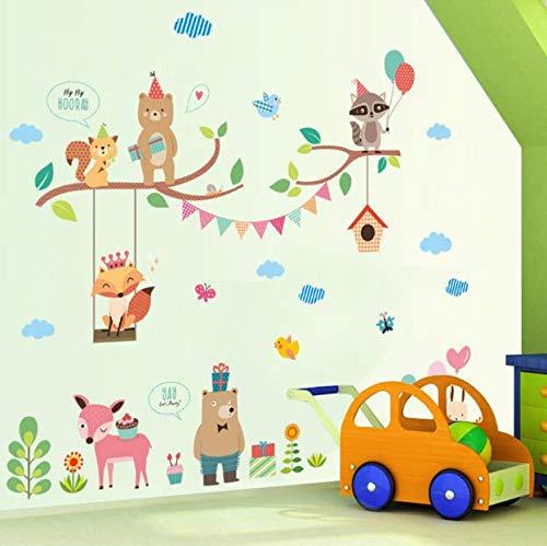 Lovely Safari Fox Owlets World Wall Stickers For Kids Rooms Home Decor Cartoon Animals Wall Decals Pvc Mural Art Diy Poster Gift 70Cm*83Cm - Safari Kids Tisch