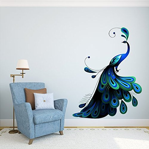DeStudio Peacock, Multi Color, Wall Stickers (Wall Covering Area : 110cm X 90cm)-11334