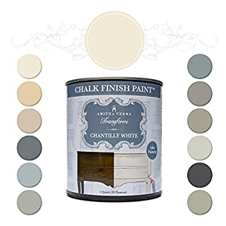 Amitha Verma Chalk Finish Paint, No Prep, One Coat, Fast Drying | DIY Makeover for Cabinets, Furniture & More, 1 Quart, (Chantilly White) by Amitha Verma