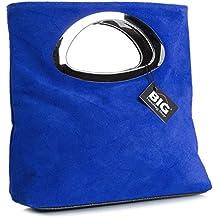 BHBS Bolso de Noche para Dama en Cuero Gamuzado con Asa Superior en Metal 15x25x7 cm (LxAxP)