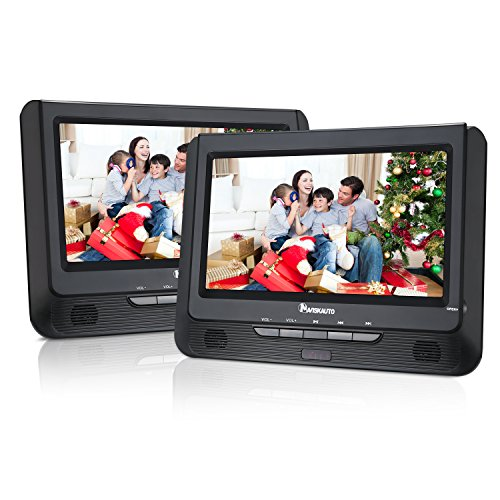 NAVISKAUTO Twin Screens Portable DVD Player with Monitor LED Wide View Screen,Built-in Real 5 Hours Battery ,Support USB SD MP3/CD (9-inch)