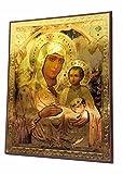 Selige Maria Baby Jesus Russische Ikone Plaque gesegnet Jerusalem Souvenir 7.5