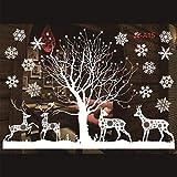 WL Wandaufkleber Weihnachten Wandaufkleber Elch Weihnachtsmann Kunst Baum Schneeflocke Kunst Aufkleber Szene Aufkleber Wandbild Fensteraufkleber Schaufenster PVC Aufkleber 26
