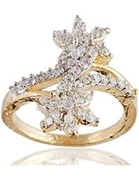 SKN Silver And Golden American Diamond Party Alloy Ring For Women & Girls (SKN-3430)