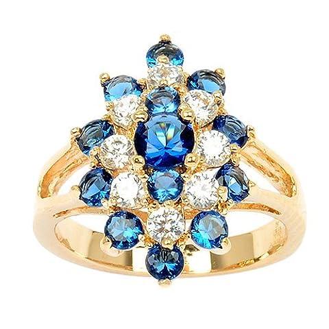 So Chic Bijoux © Bague Femme Marquise Oxyde de Zirconium Bleu & Blanc Plaqué Or 750 - Taille 62