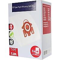 SPARES2GO 3D Tipo FJM Hyclean Sacchetti per Miele S300 S372 S374 S378 S380 S383 S399 Aspirapolvere (5 Borse + Filtri Aria Micro)