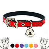 "Leather Cat Collars with Bell Safety Buckle Soft and Adjustable for Girls Kitty, Puppy, Small Dogs Fit 8.6""-10.2"" /Red"