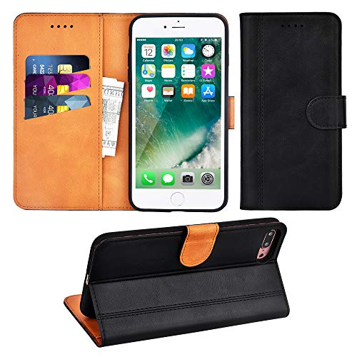 Adicase iPhone 7 Plus Hülle Leder Wallet Tasche Flip Case Handyhülle Schutzhülle für Apple iPhone 7 Plus / 8 Plus 5,5 Zoll (Schwarz) Iphone Wallet Case