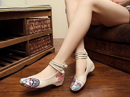 Femaleshoes amp;hua Sehnensohle Stil Opera Gestickte Segeltuchschuhe Schuhe Bequeme Mode Peking Beige Ethnischer RRU06w1q