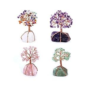 Jovivi Edelstein Lebensbaum Deko Wire Wrap Trommelsteine Chakra Baum des Lebens Geldbaum Glücksbringer Feng Shui Reiki Dekoration