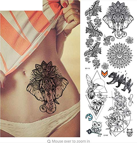 ruofengpuzi Sexy gefälschte gürtel Ganesha schwarz indische Spitze Tattoo temporäre Blume wasserdicht Tattoo Aufkleber Body Art arm Tattoo
