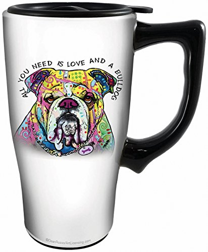 Spoontiques 12809 Bulldog Ceramic Travel Mug, White/Multicolor