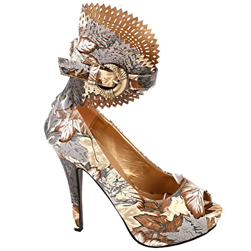 Visualizza Story Multicolore Motivo floreale / Animal Gladiator Platform Pumps, LF30402 Foglia marrone