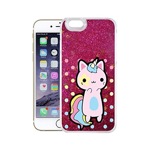 finoo | iPhone 6 / 6S Flüssige Liquid Pinke Glitzer Bling Bling Handy-Hülle | Rundum Silikon Schutz-hülle + Muster | Weicher TPU Bumper Case Cover | Einhorn Katze Einhorn Katze