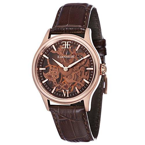 Thomas Earnshaw Bauer Shadow ES-8061-04 Montre mécanique pour homme Avec cadran marron à mécanisme apparent et bracelet en cuir marron