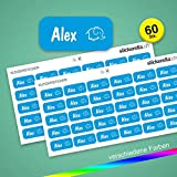 Stickerella - 60 Stück! -Namensaufkleber, Namensetiketten, permanent, wasserfest, personalisiert, (11 x 26 mm) (hellblau)