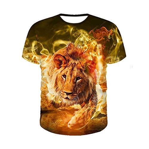 AFYH Halloween T-Shirt, Lässige Kurzarm/DIY Löwe/Herrenbekleidung/Unterhemd/Weste/Sport/Fitness/Polyester Material/Schweiß/Feuchtigkeit/Schließen/Komfortabel,XL