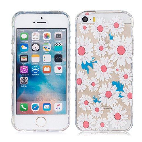 iPhone 5 Hülle, E-Lush TPU Soft Silikon Tasche Transparent Schale Clear Klar Hanytasche für Apple iPhone 5 5S SE Durchsichtig Rückschale Ultra Slim Thin Dünne Schutzhülle Weiche Flexibel Handyhülle Kr Weiß Chrysantheme