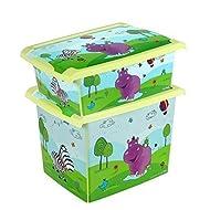 Juego de 2Fashion Caja Hippo 20L + 10L Caja Caja para juguetes