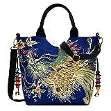Vbiger Women Canvas Shoulder Bag Peacock Embroidery Handbag Stylish Tote Bags Casual Cross-Body