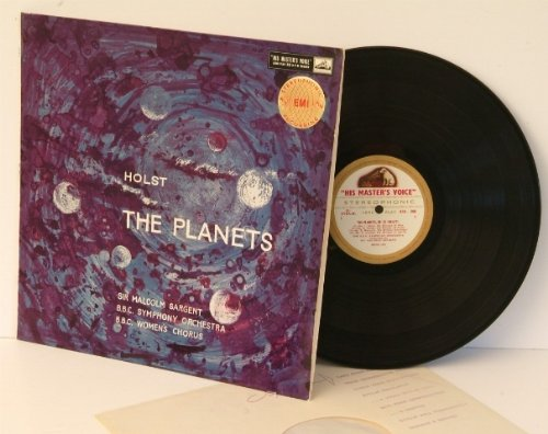 HOLST The Planets op.32 Sir Malcolm Sargent conducting The B.B.C. Symphony Orchestra with the B.B.C. Women's Chorus. UK pressing ASD 269 HMV Gold and Cream label, stereo. - Label Bb Cream
