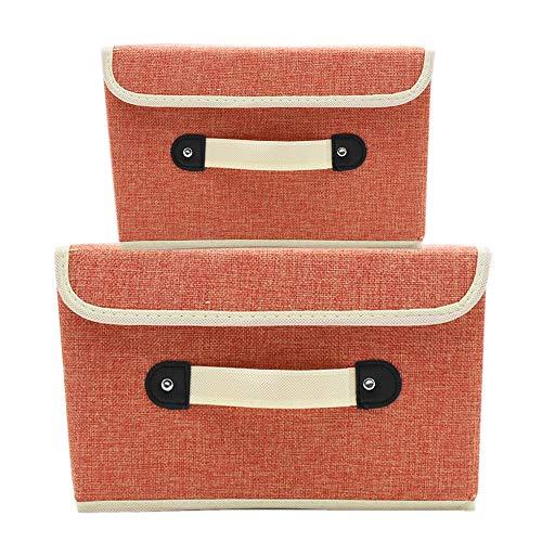 MMYOMI Aufbewahrungsboxen Set von 2 Leinen Stoff Faltbare Bins Korb mit Deckel Griff Cubes Organizer Boxen Container Schubladen für Büro Kinderzimmer Schlafzimmer Regal (Orange)