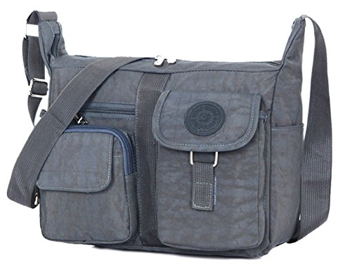 Tibes Travel Messenger Bag Beiläufige Umhängetasche Oxford Stoff Crossbody Tasche Tasche für Damen/Herren Grau (Messenger Travel Bag)