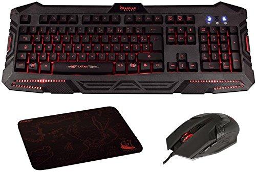 Konix Drakkar Raider Pack - Pack Clavier Souris Gaming Avec Clavier Gamer LED / Anti-Ghosting 19 Touches + Souris Gaming 6 Boutons / 2400 DPI + Tapis de Souris Gam