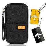 Reisebrieftasche Reisepass, Familie Dokument Karte Fall mit Reißverschluss, Bordkarten Kredit ID Karten Tasche + 2 Kofferanhänger (3 Pack)